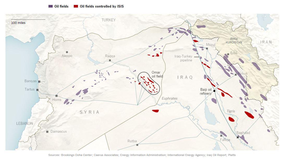 I pozzi e le raffinerie controllate dall'ISIS in Siria e in Iraq (e al conto mancano ancora quelle che ISIS prenderà in Libia) (fonte: nytimes.com)