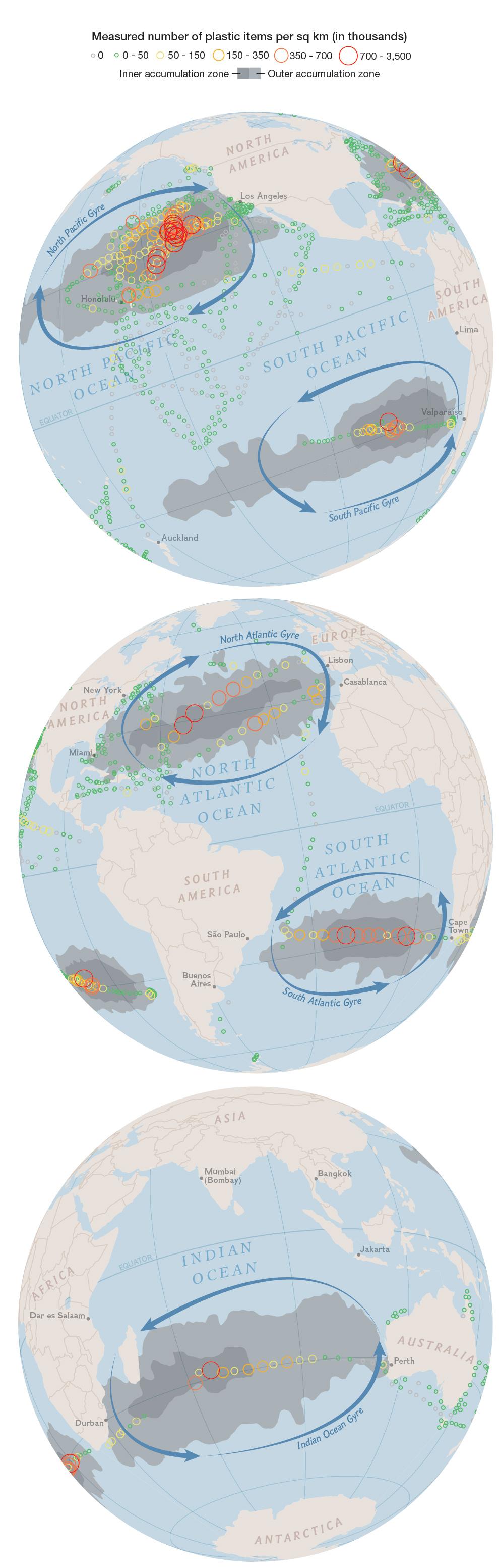 La mappa che mostra l'estensione delle isole di rifiuti galleggianti