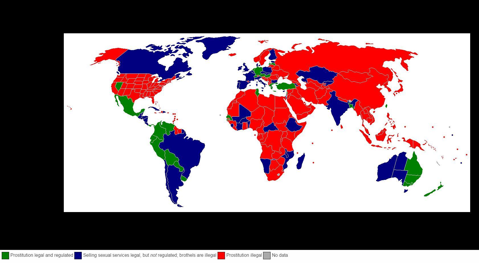 La situazione della regolamentazione della prostituzione nel mondo (via wikipedia.org)