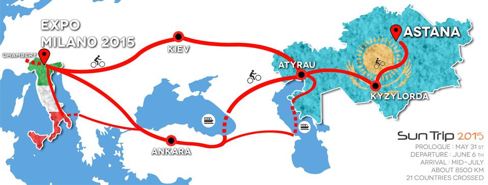 Il percorso dell'edizione 2015 di The Sun Trip (fonte: thesuntrip.com)