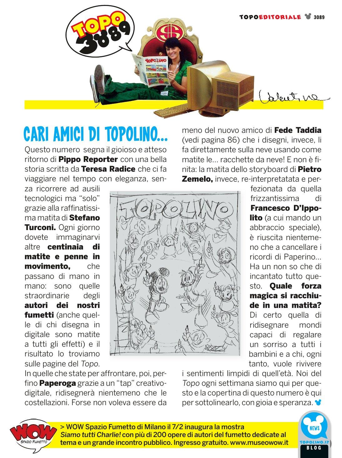 L'editoriale del numero 3089 di Valentina De Poli (via: http://topoinfo.altervista.org/)
