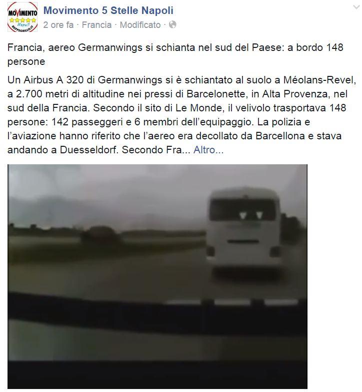 aereo caduto movimento 5 stelle video falso