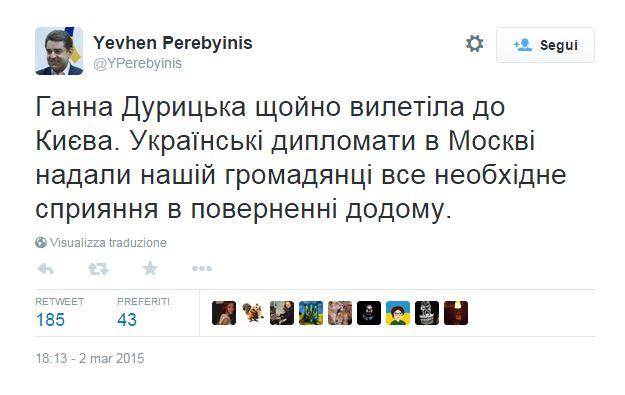 Il tweet del portavoce del Ministro degli Esteri ucraino (fonte: Twitter.com)