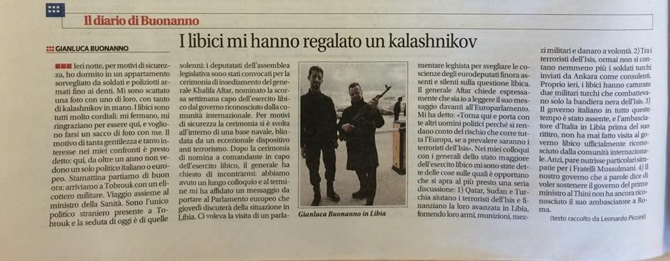 Buonanno racconta la sua conquista della Libia su Libero (fonte: Facebook.com)