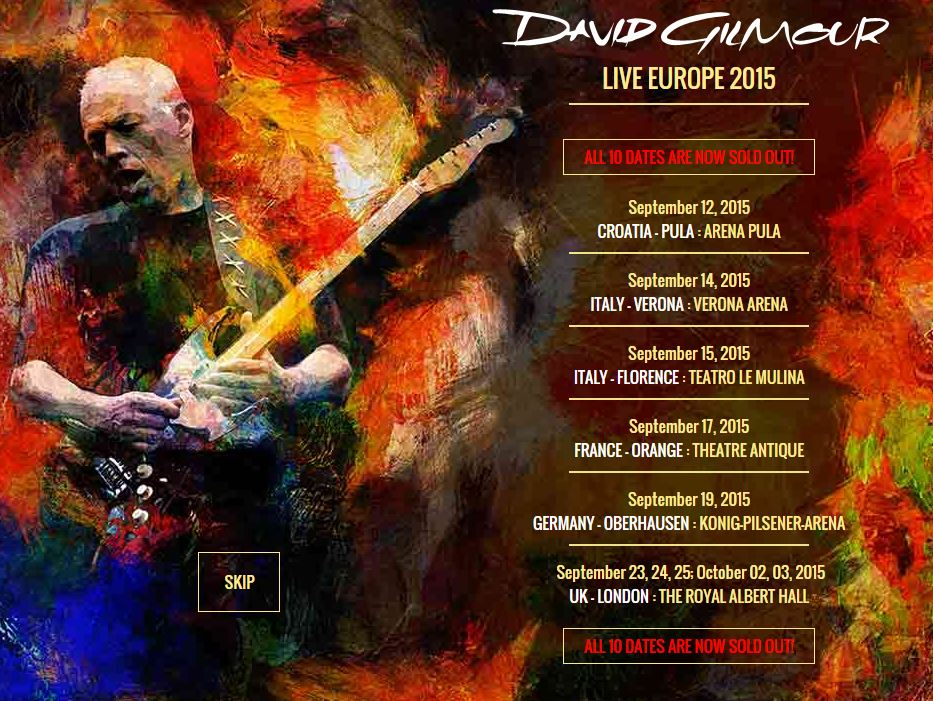 david gilmour sold out