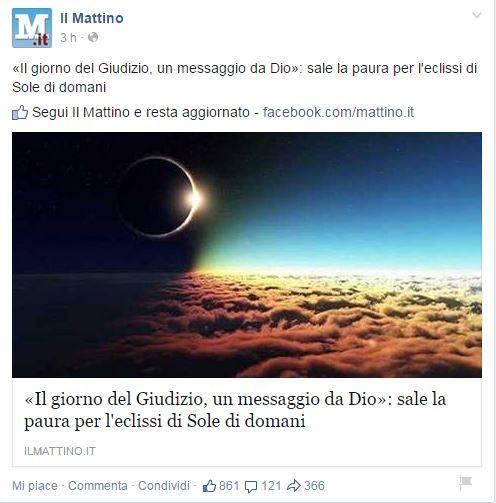 Il Mattino non scherza (fonte: Facebook via Ah ma non è Lercio)