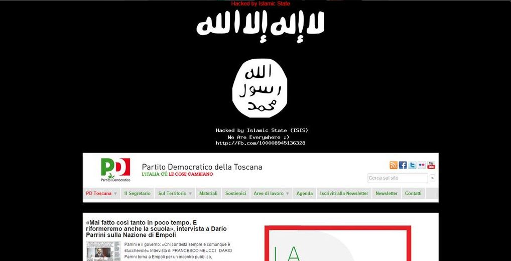 """Il sito del PD """"hackerato dall'ISIS"""""""