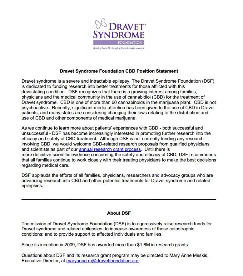 marijuana dravet syndrome foundation