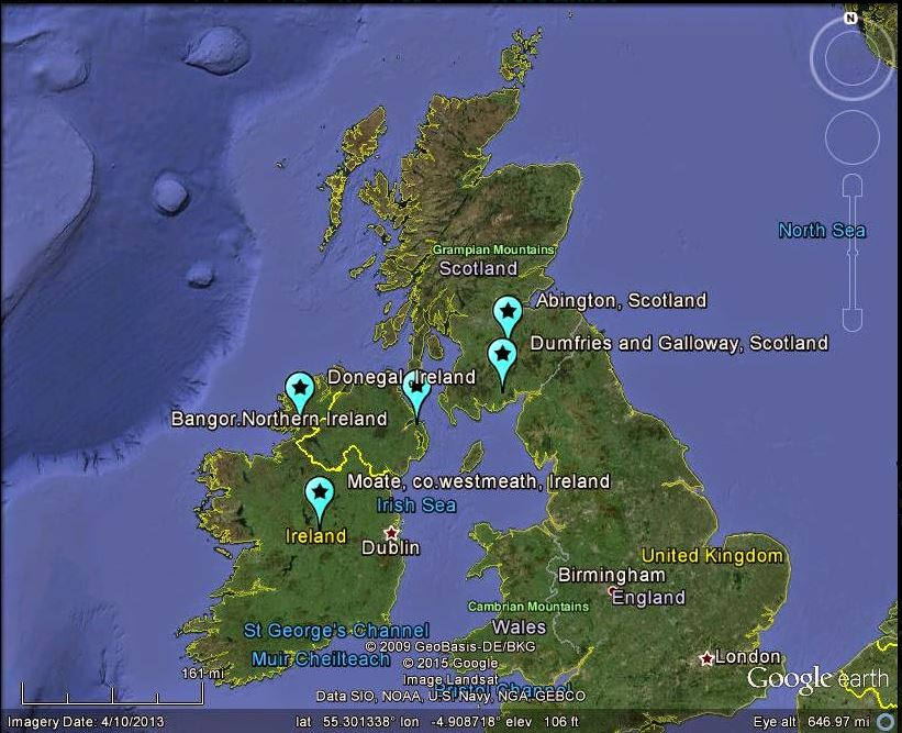 La mappa delle segnalazioni che mostra il passaggio della meteora sui cieli scozzesi e irlandesi (fonte: http://lunarmeteoritehunters.blogspot.it/)