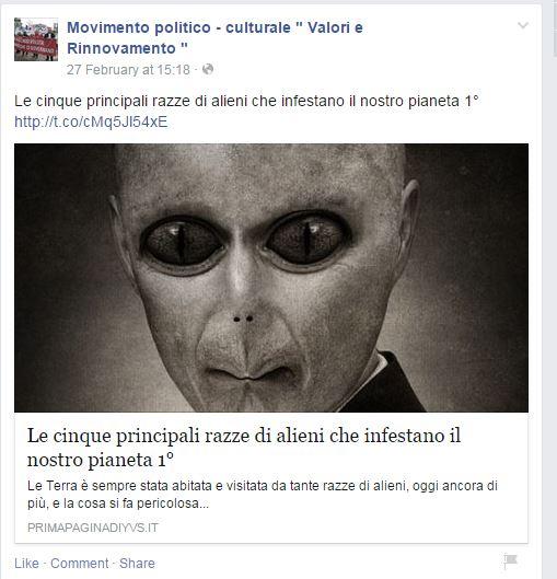 Alieni infestanti, e chi lo sente Salvini adesso? (fonte: Facebook.com)