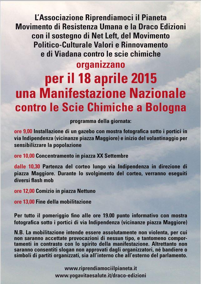 Il programma della manifestazione nazionale contro le scie chimiche del 18 aprile a Bologna (fonte: riprendiamociilpianeta.it)