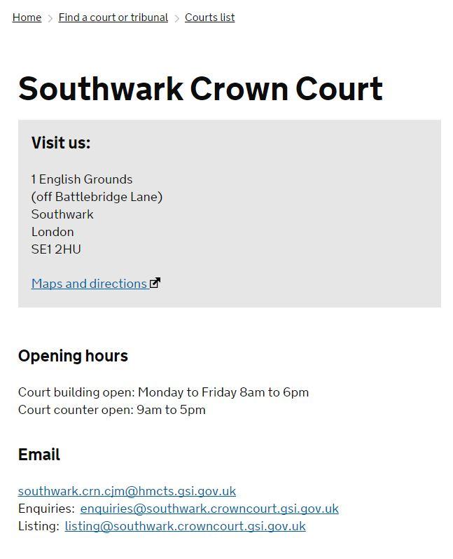 I veri indirizzi email e il dominio del tribunale di Southwark (fonte: https://courttribunalfinder.service.gov.uk/courts/southwark-crown-court)
