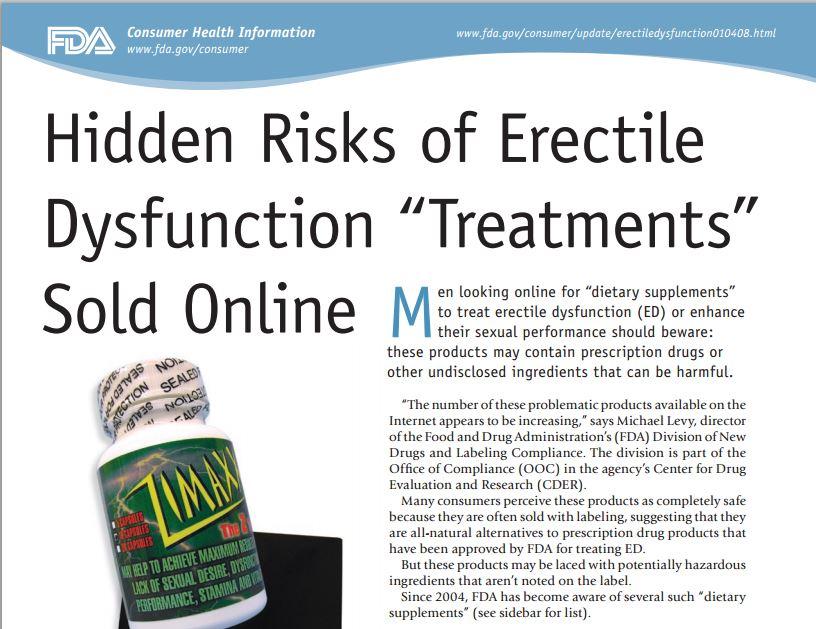 """L'articolo della FDA sui rischi del viagra """"naturale"""" (fonte: fda.gov)"""
