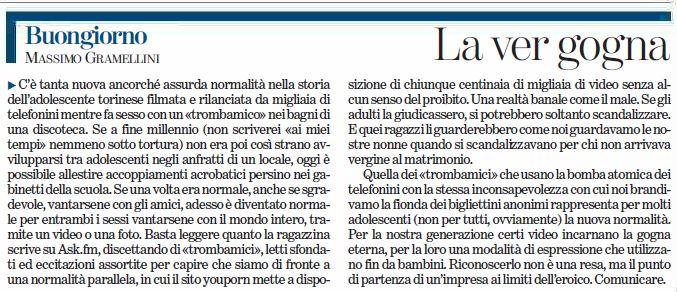 Buongiorno un cazzo, caro Gramellini (fonte: La Stampa)