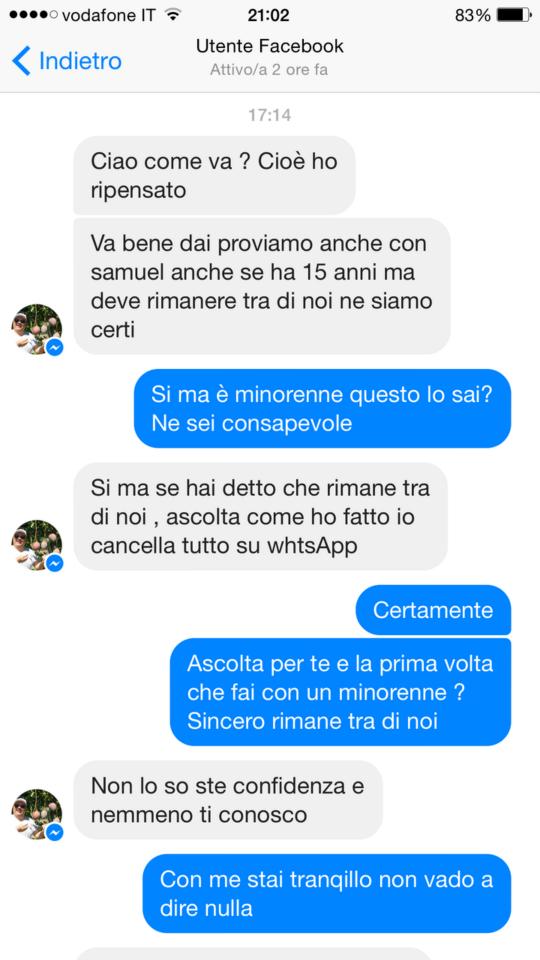 Uno degli screenshot della chat tra il finto camionista gay e il frate messinese (fonte: Facebook.com)