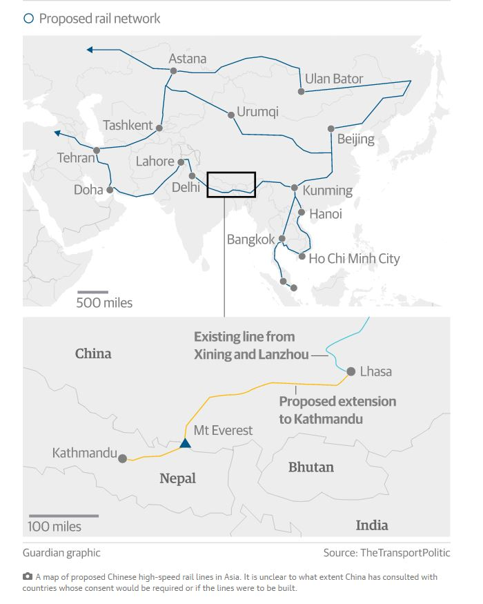 Una mappa del progetto del sistema ferroviario che collegherebbe la Cina al resto dell'Asia (fonte: theguardian.com)