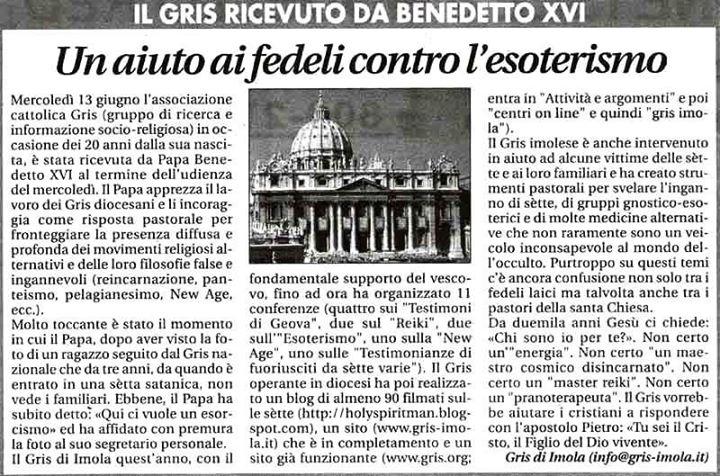 L'incontro del GRIS con papa Benedetto XVI qualche anno fa (fonte: Facebook.com)