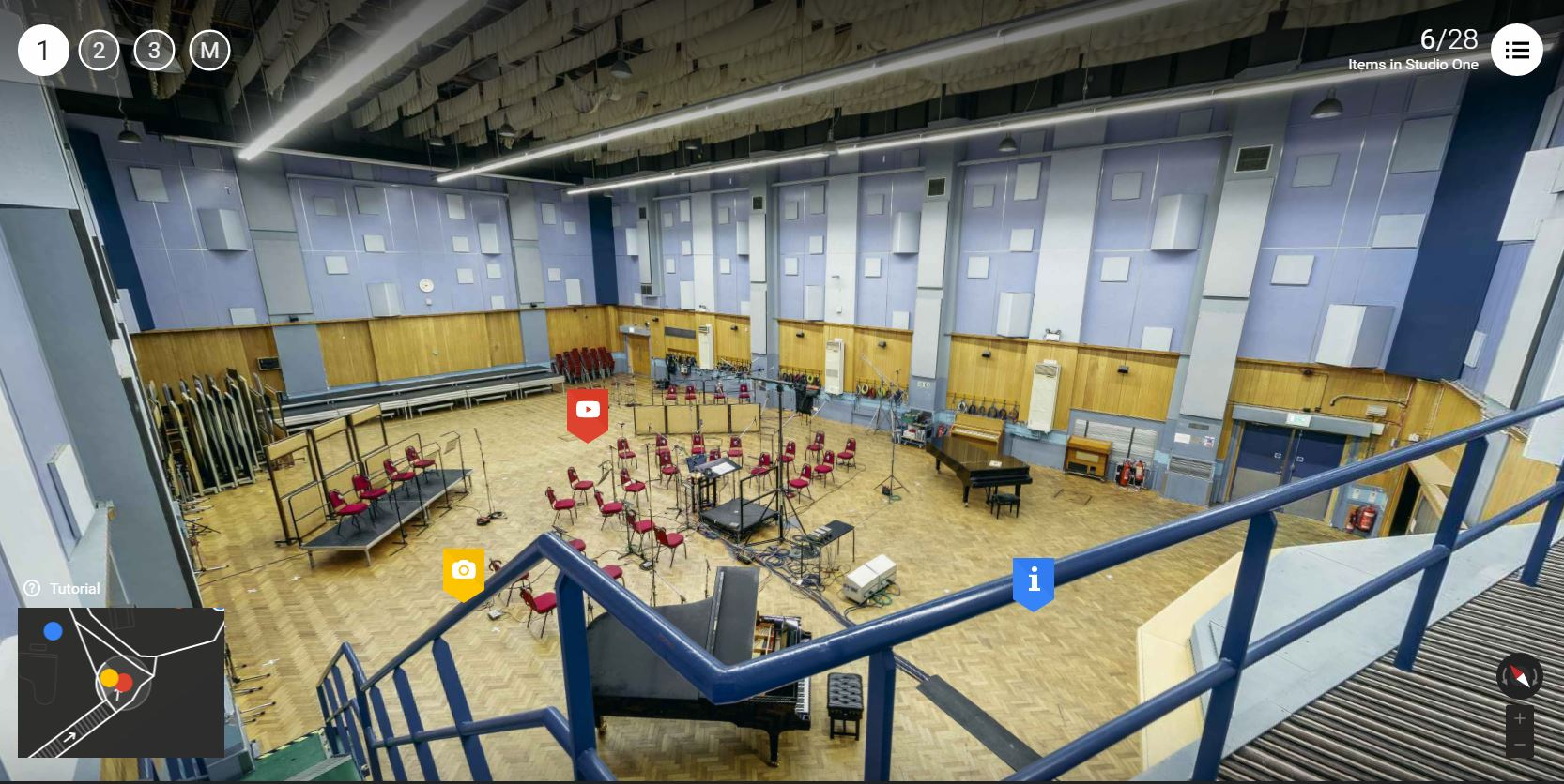 Una panoramica dell'interno dello Studio One di Abbey Road (fonte insideabbeyroad.withgoogle.com)