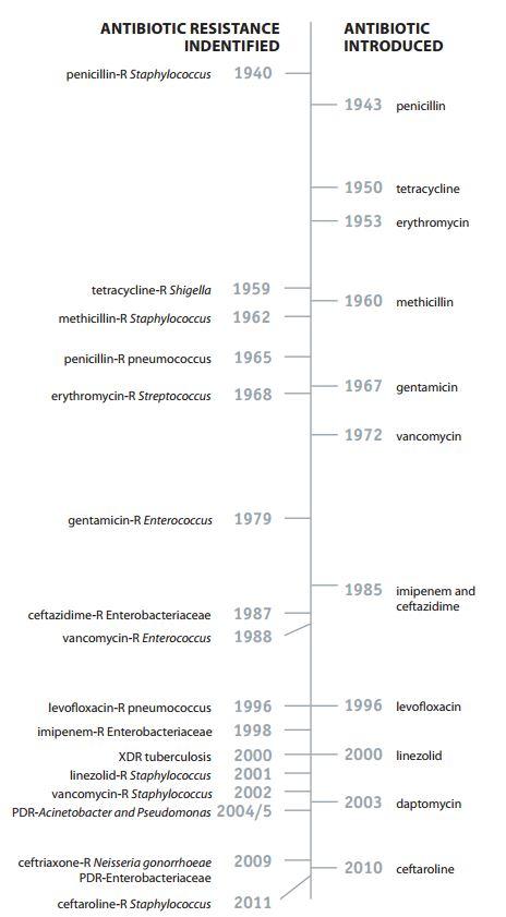 Timeline della scoperta degli antibiotici (fonte: CDC.gov)