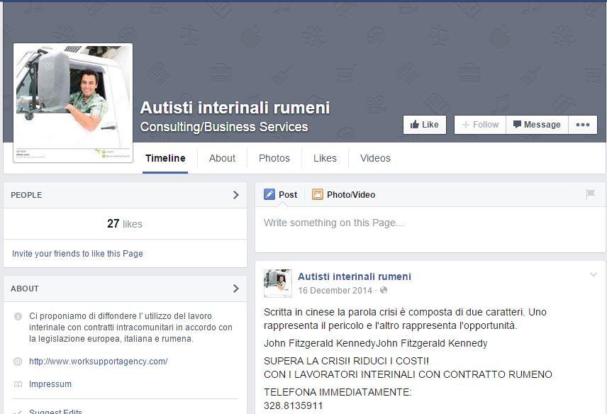 La pagina Facebook che pubblicizza l'assunzione degli autisti interinali rumeni
