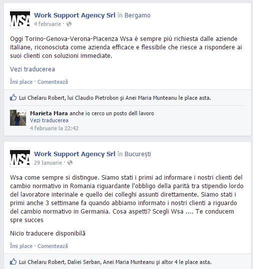 Uno screen dalla pagina di WSA, l'agenzia interinale indicata come responsabile del volantino sugli autisti rumeni