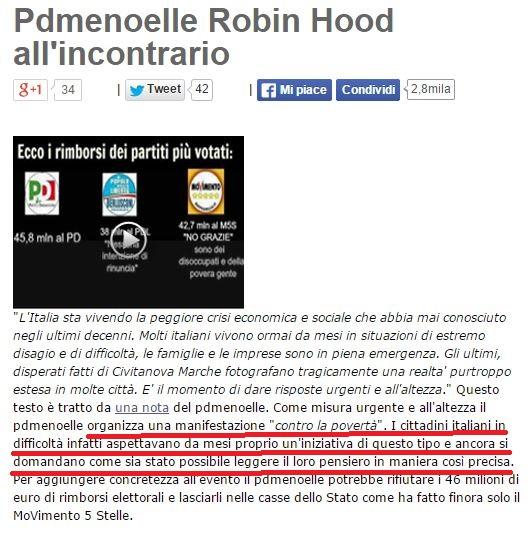 Post del 7 aprile 2013 sul blog di Beppe Grillo
