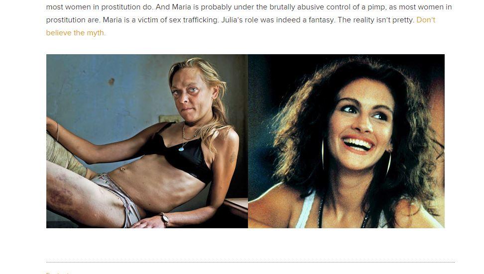 L'immagine che mette a confronto le due facce della prostituzione (fonte: http://exoduscry.com/)