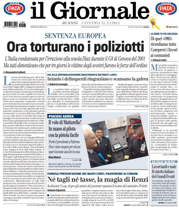 giornale tortura poliziotti