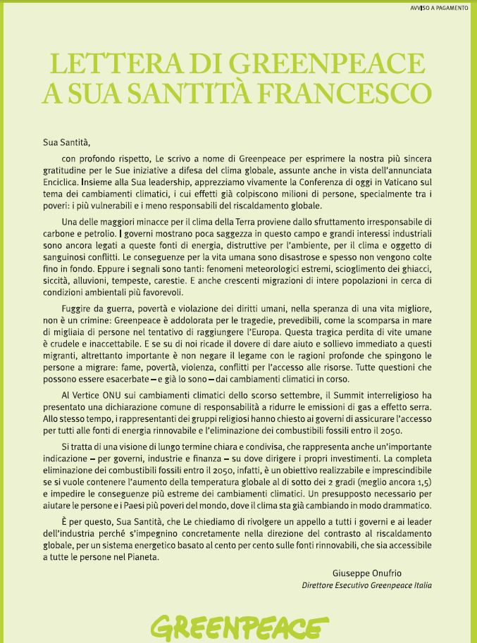 greenpeace lettera papa francesco