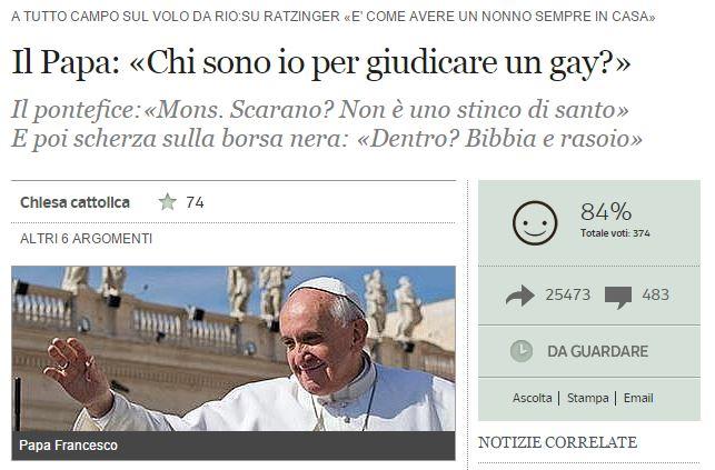 papa francesco ambasciatore gay