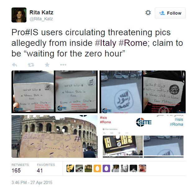 Il tweet di Rita Katz (via Twitter.com)