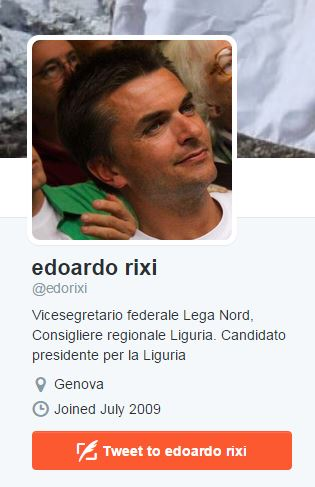 Rixi non si è ancora ripreso e deve ancora aggiornale il profilo su Twitter (fonte: Twitter.com)