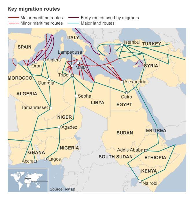 Questa mappa mostra come la Libia e i suoi porti non siano che uno dei punti di transito per i migranti (fonte: bbc.com)