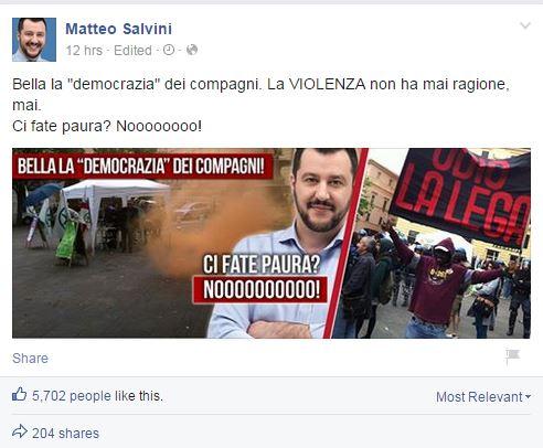 salvini ancona contestazioni facebook