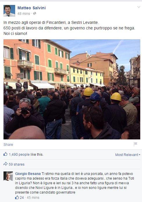 Oggi Salvini è a Sestri Levante a prendersi i fischi dei suoi (fonte: Facebook.com)