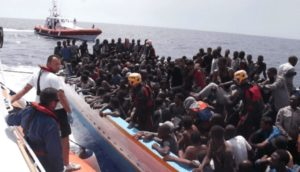 Rescued refugees from Libya