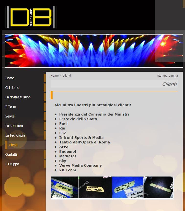 La pagina dei clienti della Di Bi Technology di Biancifiore (fonte: dibitechnology.com)