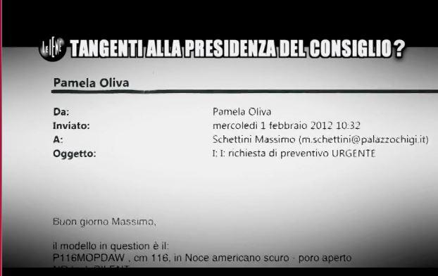 La mail riguardante il pianoforte della dirigente della DiBi al funzionario del Ministero (fonte: iene.mediaset.it)