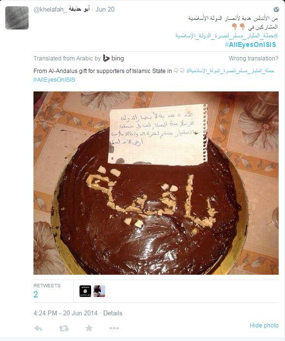torta isis minaccia twitter