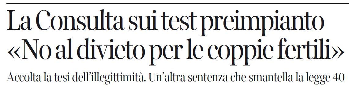 Il titolo del Corriere della Sera di oggi sulla decisione della Corte Costituzionale