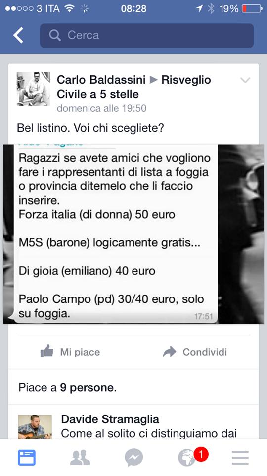 Il post di denunzia di Baldassini su Facebook (via Facebook.com)