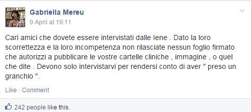 gabriella mereu cartelle cliniche iene liberatoria