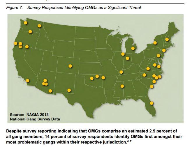 Le aree dove le gang di bikers sono percepite come un grave pericolo per la sicurezza (fonte: http://www.fbi.gov/stats-services/publications/national-gang-report-2013)