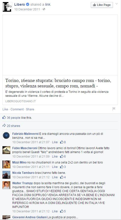 Lo stupro inventato e il razzismo vero (fonte: Facebook.com)