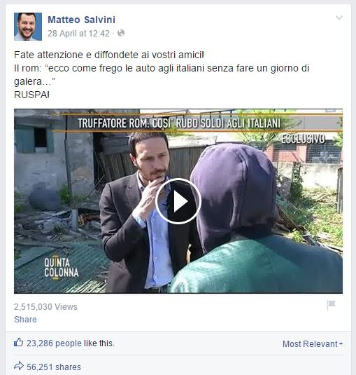 Il post di Salvini che invoca la ruspa contro un Rom incappucciato