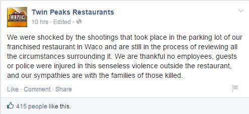 La dichiarazione della casa madre del Twin Peaks di Waco dopo la sparatoria
