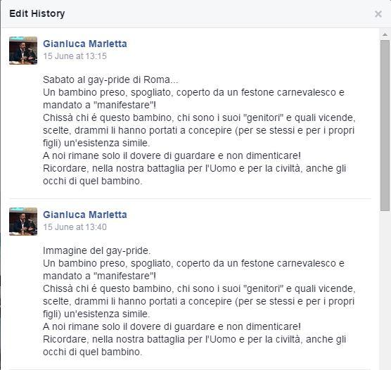 Il post originale di Marletta su Facebook