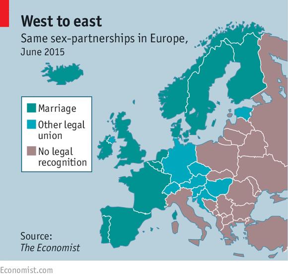 la situazioni delle unioni omosessuali in Europa (via Facebook.com/The Economist)