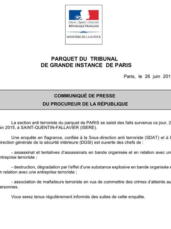 Il comunicato della procura di Parigi sull'attentato