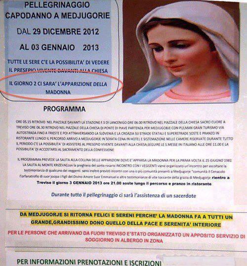 Uno dei tanti volantini che pubblicizzano le apparizioni programmate della Madonna a Medjugorje (fonte: http://www.rudybandiera.com/madonna-medjugorje-veggenti-1213.html)